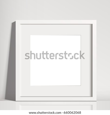 Realistic White Square Matted Picture Frame Stock Vector (Royalty ...