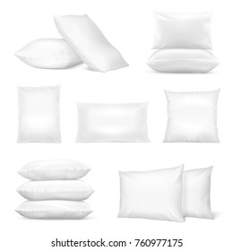 Realistic white square and rectangular pillows set with natural and synthetic cotton mix fiberfill isolated vector illustration