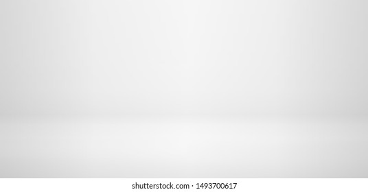 Realistic white studio wall, Empty light room interior in minimal 3d. Vector floor, horizontal realistic empty abstract studio room or shelf, vector background.