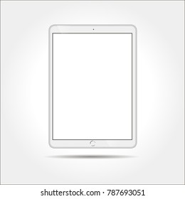 Realistic white tablet mock up isolated on white background. Tablet in ipade style vector illustration. Tablet mockup with blank screen.