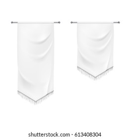 Realistic white textile banners with folds. Vector background