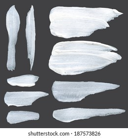 Realistic white thick paint strokes on a dark surface 1