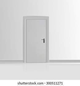 Realistic White Wall with Door Vector illustration