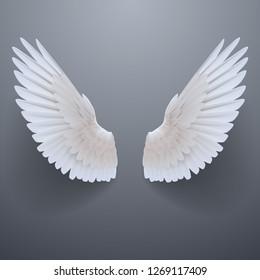 Realistic white wings - Shutterstock ID 1269117409