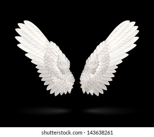 Realistic White Wings on black background