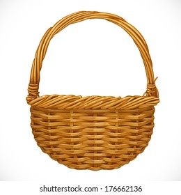 Realistic wicker basket isolated on white background. Vector illustration