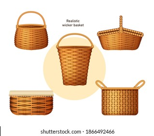 Realistic wicker basket set. Handcraft decorative basketry picnic containers. Empty wicker basket for Easter holiday, picnic, countryside, home decoration vector illustration