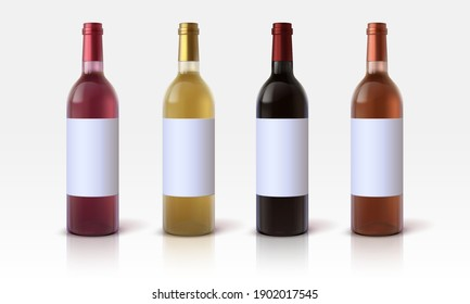 Realistic wine bottles. 3D glass containers mockup with blank labels for marketing branding and presentation. Vector bottles for alcoholic beverages, red and white grape drinks, vector isolated set