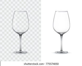 Realistic wine glasses, vector illustration isolated on white and transparent background. Mock up, template of glassware for alcoholic drinks