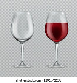 Realistic wineglass. Empty and with red wine wineglasses isolated glassware vector illustration on transparent background