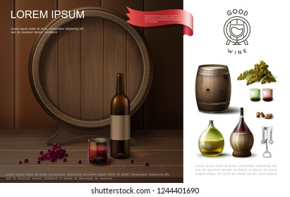 Realistic winemaking colorful composition with wooden barrel original bottles of wine corkscrew glasses and grapes bunch vector illustration
