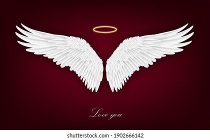 Realistic wings. Pair of white isolated angel style. Spirituality and freedom concept