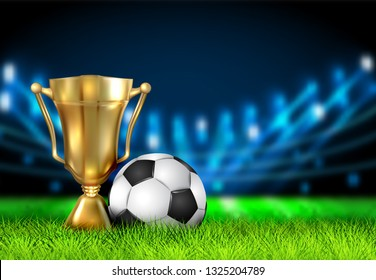 Realistic winner cup and soccer ball isolated on field stadium. Prize for champions in the form of a golden bowl. Football Award. Gold Winner Trophy Cup for 1st Place. Sport Banner Background. EPS 10
