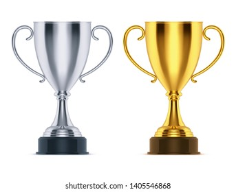 Realistic winner golden trophy and 3d silver runner-up cup. Prize for sport competition or winning ceremony at race, soccer event. Icon for reward or achievement, bowl or goblet design. Game theme