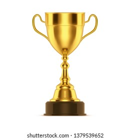 Realistic winner trophy or 3d cup for sport competition. Golden or gold award for champion, race or soccer contest. Metal trophy or bowl for leader. Isolated celebration ceremony reward icon. Victory