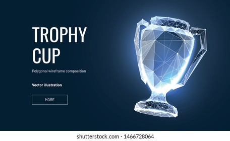 Realistic winner trophy. Polygonal wireframe composition. Concept of gold award for champion. Polygonal abstract  isolated on blue background.Particles are connected in a geometric silhouette. Vector