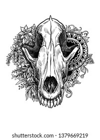Realistic wolf skull in a graphic technique in flowers