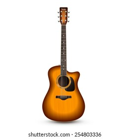 Realistic wooden acoustic guitar isolated on white background vector illustration