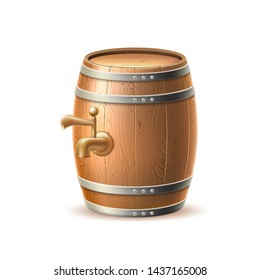 Realistic wooden barrel keg or cask with tap. Old beer, wine or whiskey oak container. Traditional winery, brewery storage element. Vector alcohol drink container. Home brew product package design