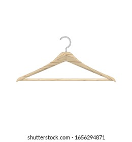 Realistic wooden clothes hanger isolated on white. Vector illustration.