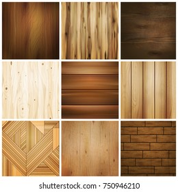 Realistic wooden floor texture set of isolated images with various square design patterns for flooring tile vector illustration