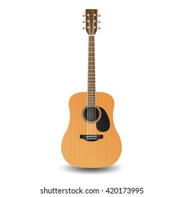 Realistic wooden guitar, isolated on a white background.