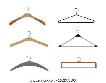 Realistic wooden hangers. For coats, sweaters, dresses, skirts, pants. Design template,layout for graphics, advertising.