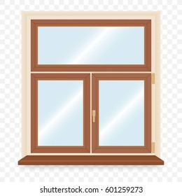 Realistic wooden plastic window. Vector illustration.