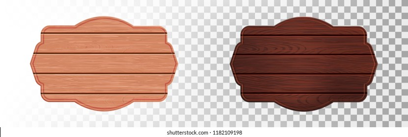 Realistic wooden sign plates with wooden texture. Vintage Wooden board on transparent background.Vector illustration EPS10
