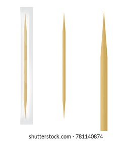Realistic wooden toothpick in transparent individual package. Vector illustration.