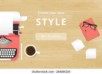 Realistic workplace organization background. Top view with textured table, typewriter, stickers, glasses, diary and coffee mug.  Desk for writer