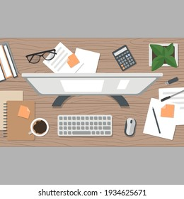 Realistic workplace organization. Top view with textured table, flowerpot, computer, calculator, diary and coffee mug. Stock vector illustration