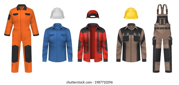 Realistic workwear. Overall uniform clothes. Jacket and helmet. Comfortable protective coveralls. Plumber and mechanic clothing. Professional outfit for workman. Vector garment set