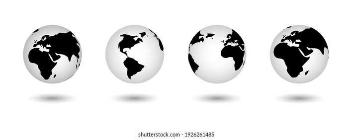 Realistic world map in the shape of a globe with shadow. Vector world map set. Earth globe icons. Flat.