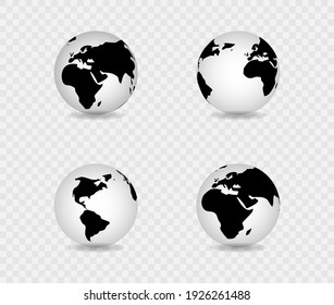 Realistic world map in the shape of a globe with shadow. Set of transparent globes of Earth. Vector illustration.