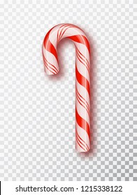 Realistic Xmas candy cane isolated on transparent backdrop.Template for greeting card on Christmas and New Year. Vector illustration.