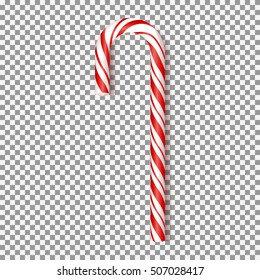 Realistic Xmas candy cane isolated on transparent backdrop. Vector illustration. Top view on icon. Template for greeting card on Christmas and New Year.
