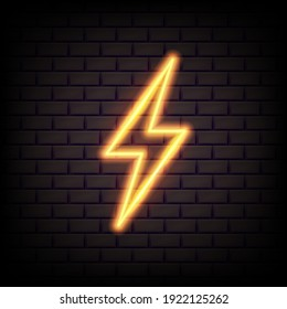 Realistic yellow 3d neon energy sign. Lightning bolt for decoration banner. Vector illustration. Eps 10.