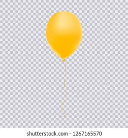 Realistic yellow balloon isolated on transparent background. Vector illustration.
