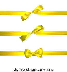 Realistic yellow bow with horizontal yellow ribbons isolated on white. Element for decoration gifts, greetings, holidays. Vector illustration.