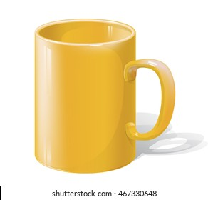 Realistic Yellow Coffee or Tea Cup Isolated on White Background. Design Template for Mock Up. Vector illustration