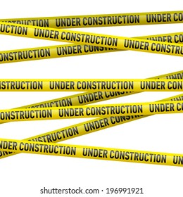 Realistic yellow danger tape with Under construction text. Illustration on white background