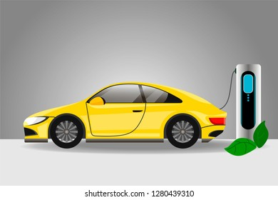 Realistic yellow electric car charging at the charger station.Electromobility e-motion concept. Vector illustration