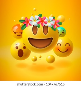 Realistic yellow emoticons with flower on head, summer concept, emoji with wreath flowers on head, vector.