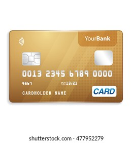 Realistic Yellow Gold Credit Card Mockup Template on White Background
