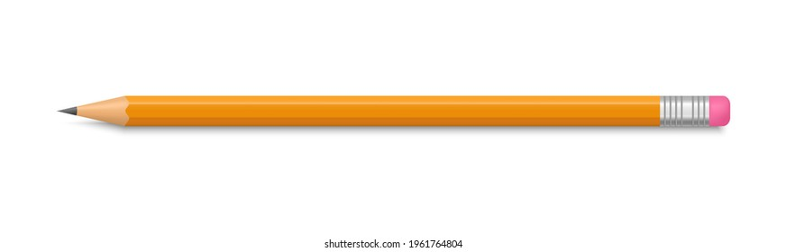 Realistic yellow pencil with rubber eraser. Lead pencil sharpened. Wooden sharp pencil. Office supplies. Vector illustration.