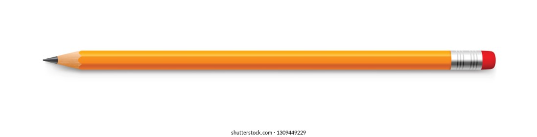 Realistic yellow pencil sharpened with a red rubber band - stock