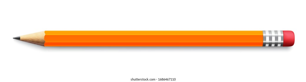 Realistic yellow pencil sharpened with a red rubber on white background - stock vector