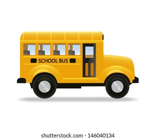 Realistic yellow school bus isolated on white background. Vector illustration.