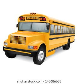 Realistic yellow school bus on white background